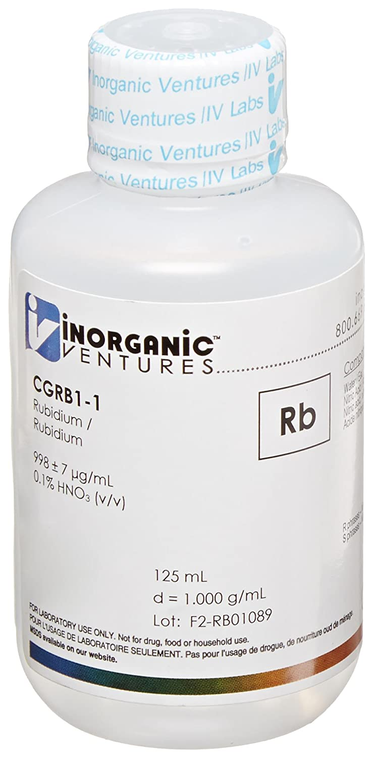Inorganic Ventures CGRB1-1 1,000ppm Rubidium (Rb) Standard for ICP, 125mL Volume