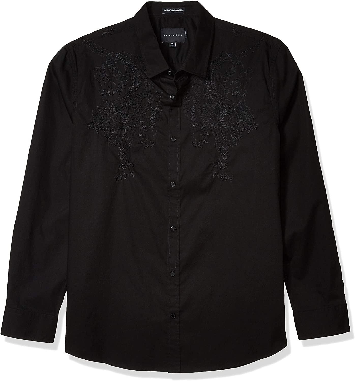 Sean John Men's Opulence Panther Long Sleeve Button Down Shirt