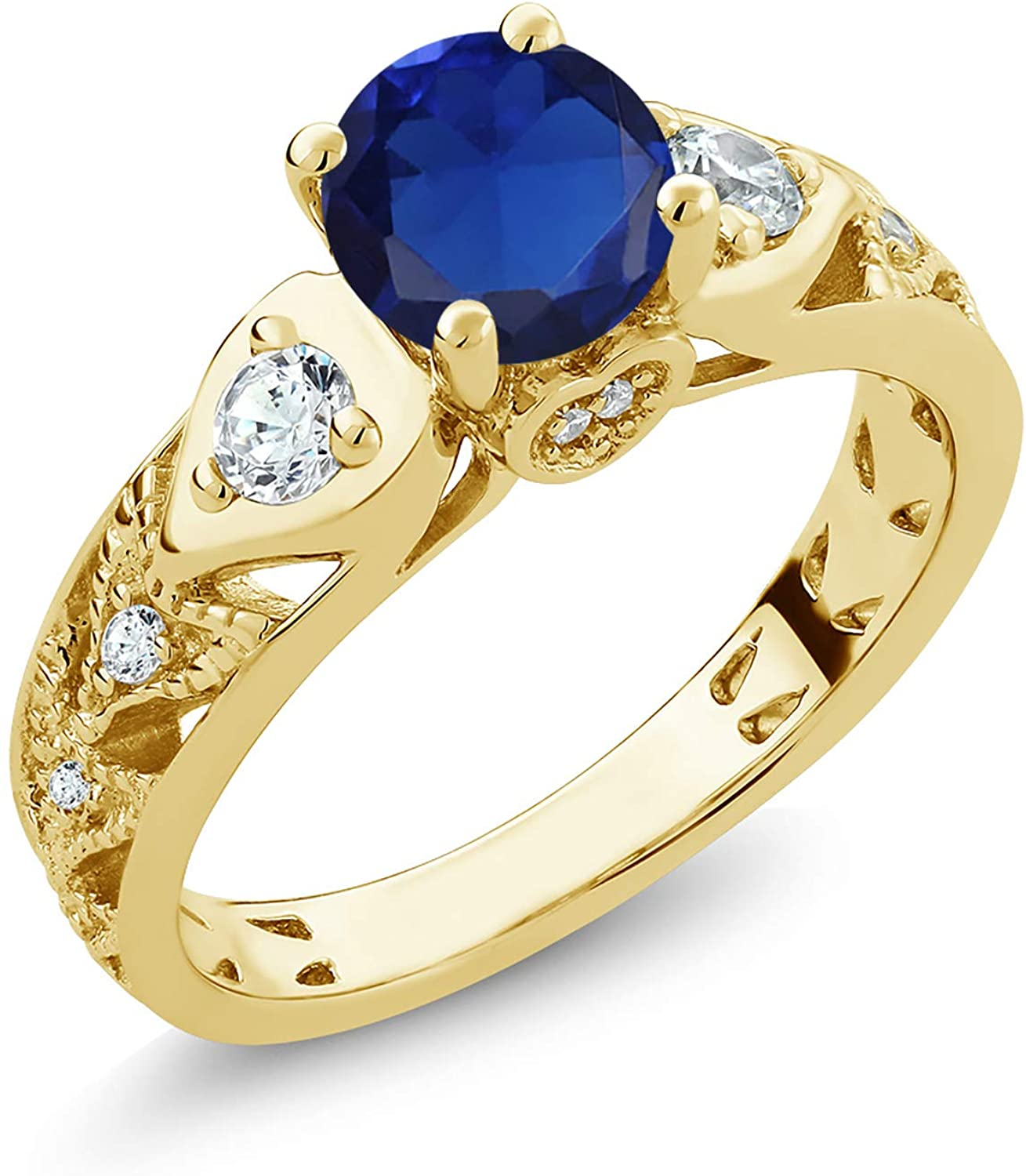 Gem Stone King 2.01 Ct Round Blue Created Sapphire 18K Yellow Gold Plated Silver Engagement Ring