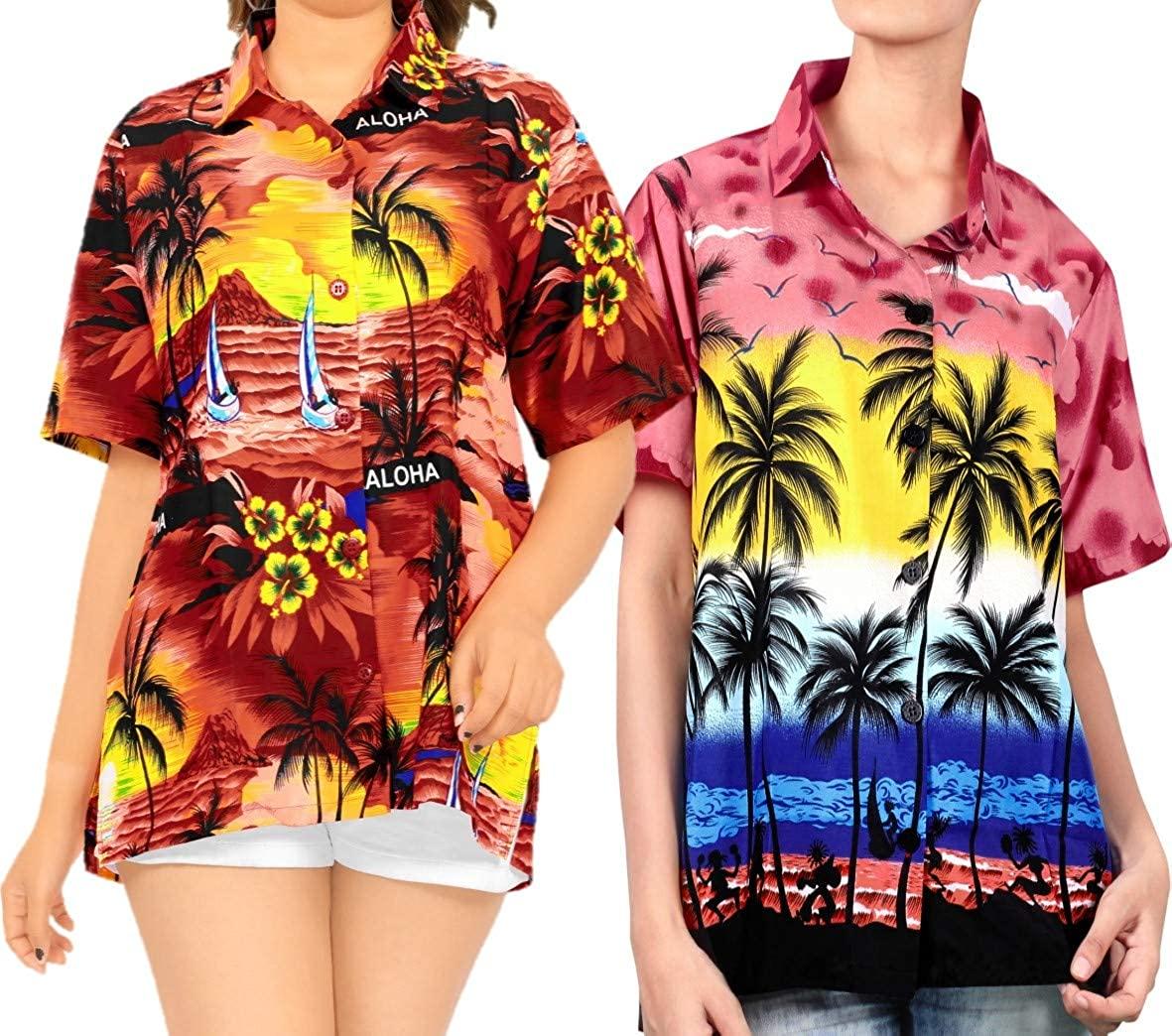 LA LEELA Womens Casual Button Down Short Sleeve Swim Hawaiian Shirt XL Work from Home Clothes Women Blouse Pack of 2