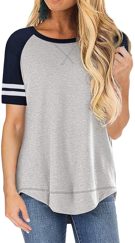 FARYSAYS Women's Color Block Crewneck Short Sleeve Casual Loose T-Shirts Blouse Tunic Tops