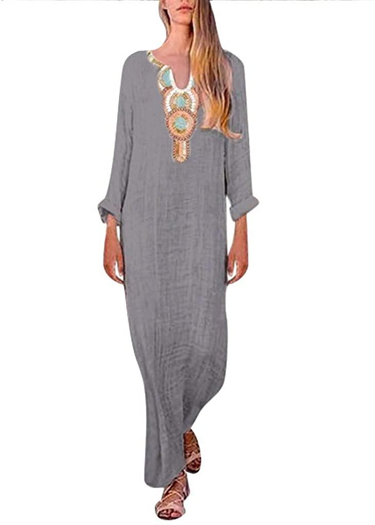 Women's Printed Long Sleeve V-Neck Maxi Dress Split Hem Baggy Kaftan Long Skirt (B- Dark Gray, X-Large)