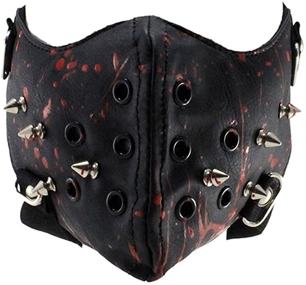 Steampunk Leather Mask Half Face Cosplay Mask Biker Men Mask Airsoft Wind Cool Punk Rivets Black Masquerade