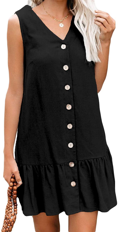 Happy Sailed Women Button Down Dress V Neck Mini Casual Shift Dresses