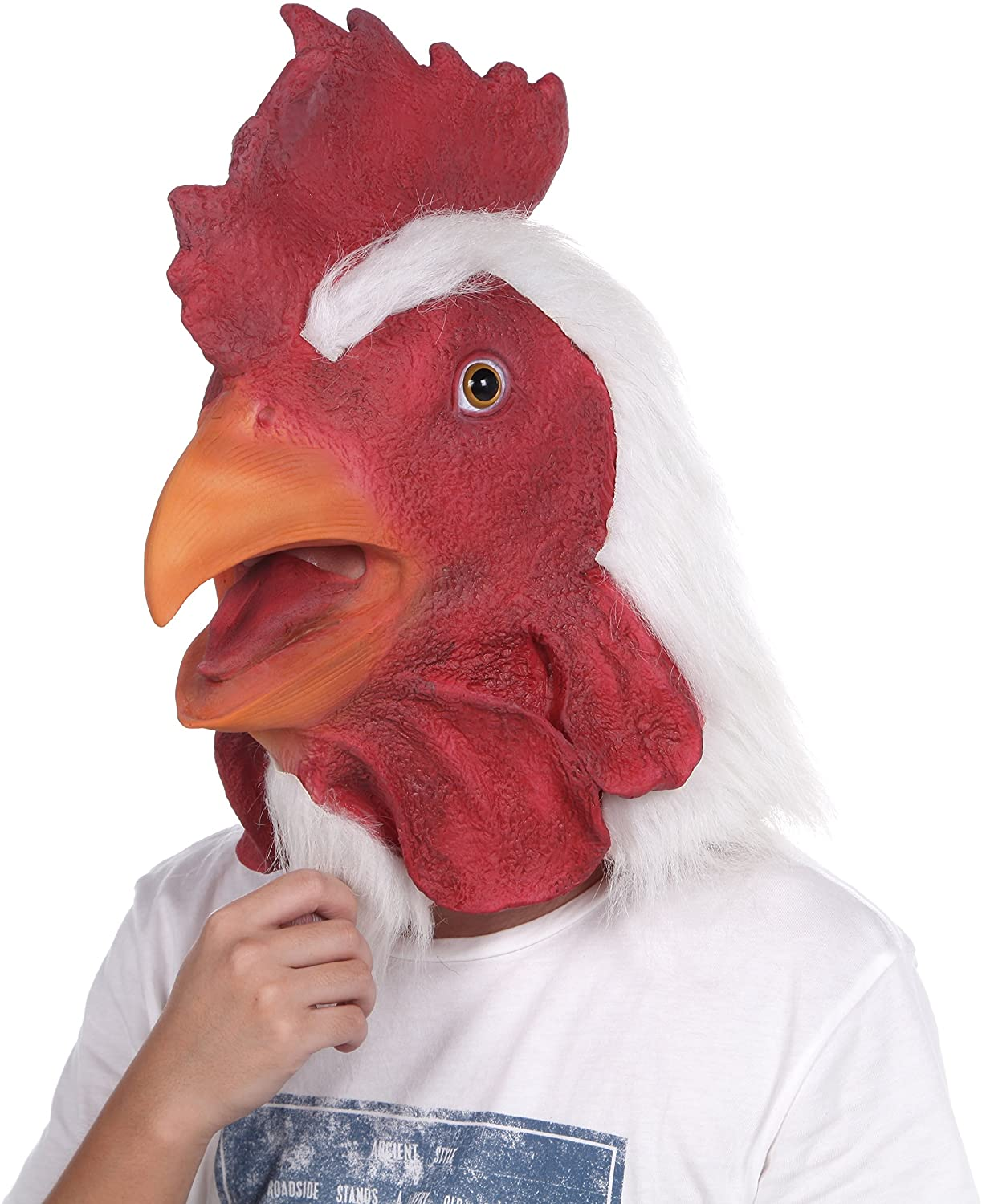 Lubber Rooster Latex Animal Head Mask for Costume (Red)