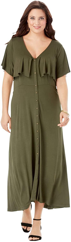 Roamans Women's Plus Size Flutter Midi Dress
