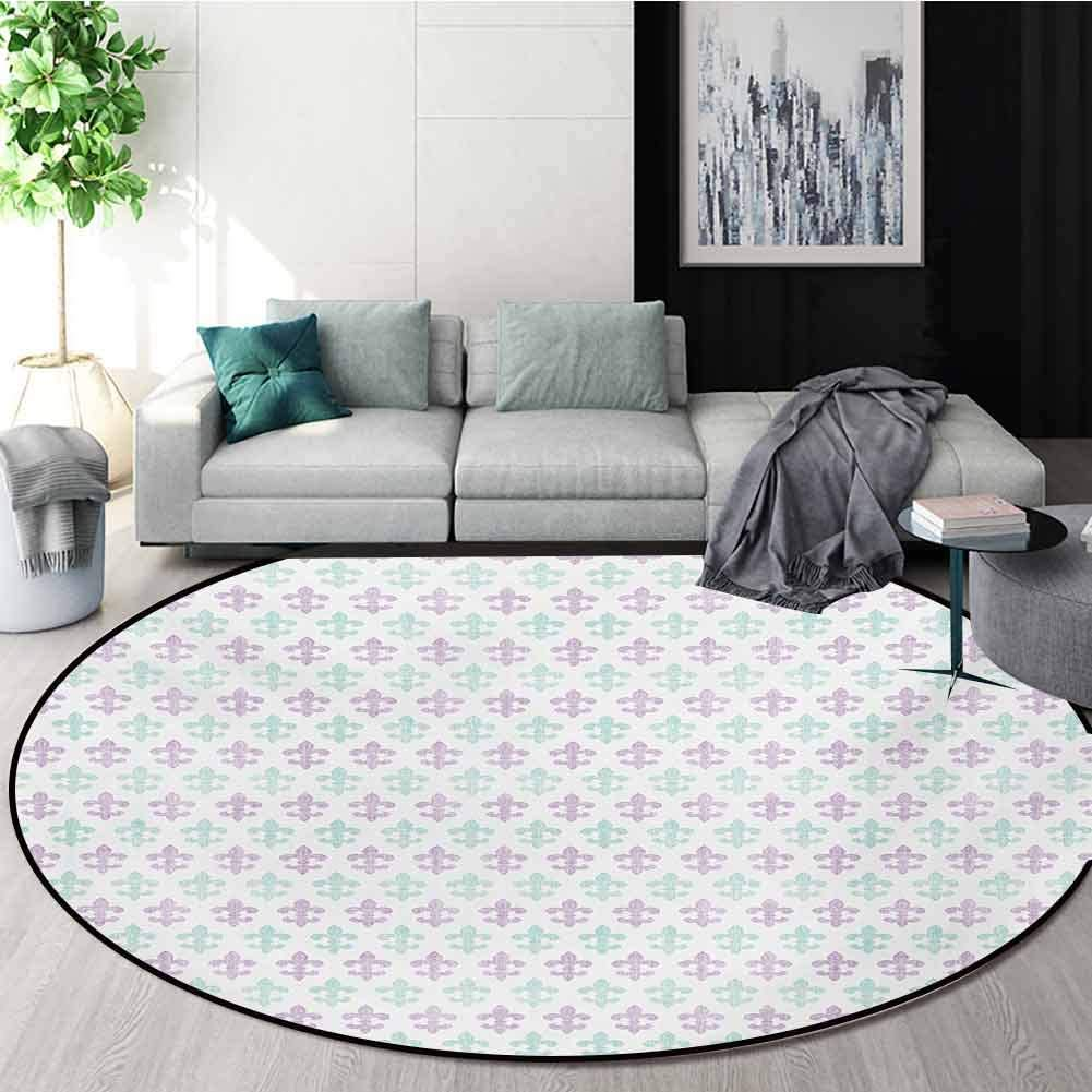 RUGSMAT Fleur De Lis Rug Round Home Decor Area Rugs,Abstract Old Fashioned Lily Flowers with Grunge Look Pastel Colors Non-Skid Bath Mat Living Room/Bedroom Carpet,Diameter-59 Inch