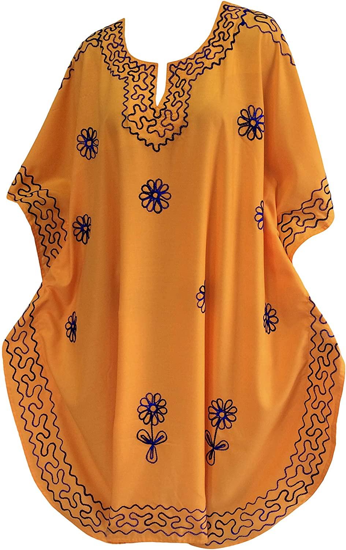 LA LEELA Women's Midi Caftan Cover Ups Beach Evening Party Dress Embroidery A