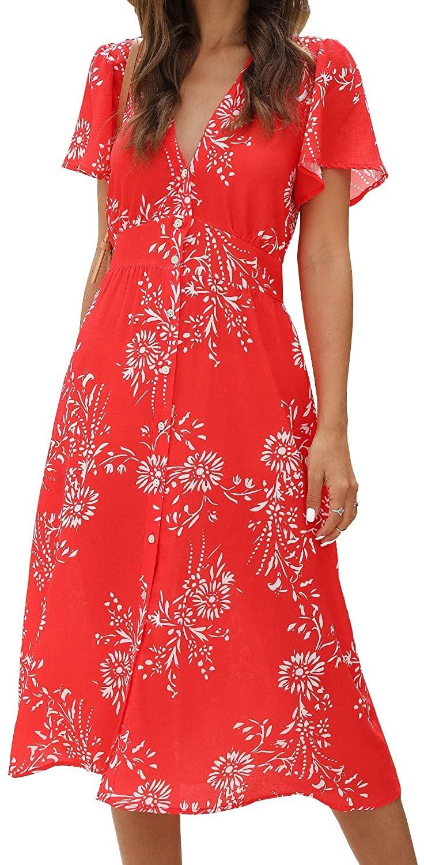 ROYLAMP Womens Floral Button Up Split Dress Deep V Short Bell Sleeve Casual Midi Dress with Pockets