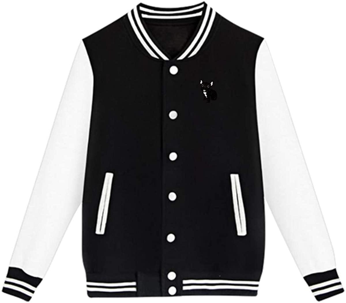 Cute Brindle Frenchie Puppy Baseball Jacket Custom Fleece Varsity Uniform Sport Coat for Youth