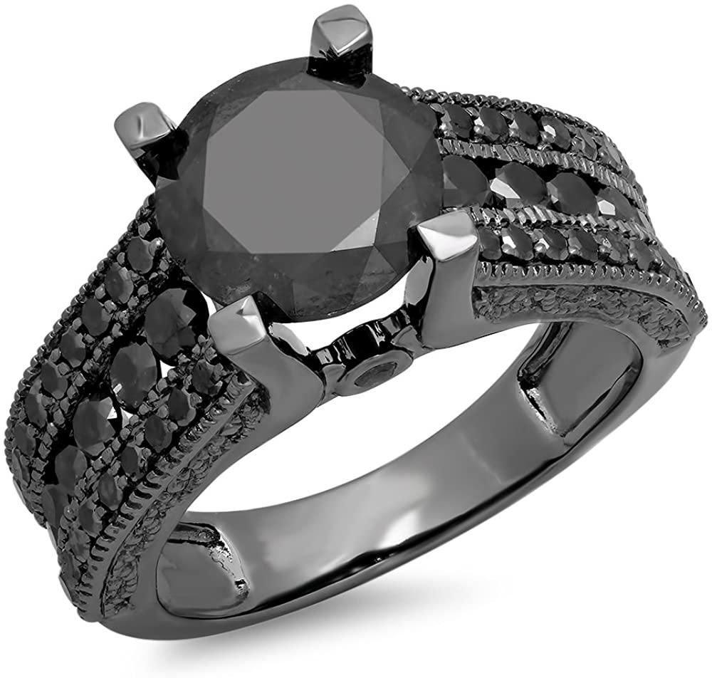Dazzlingrock Collection 3.95 Carat (ctw) Black Rhodium Plated 10K Black Diamond Vintage Bridal Engagement Ring, White Gold