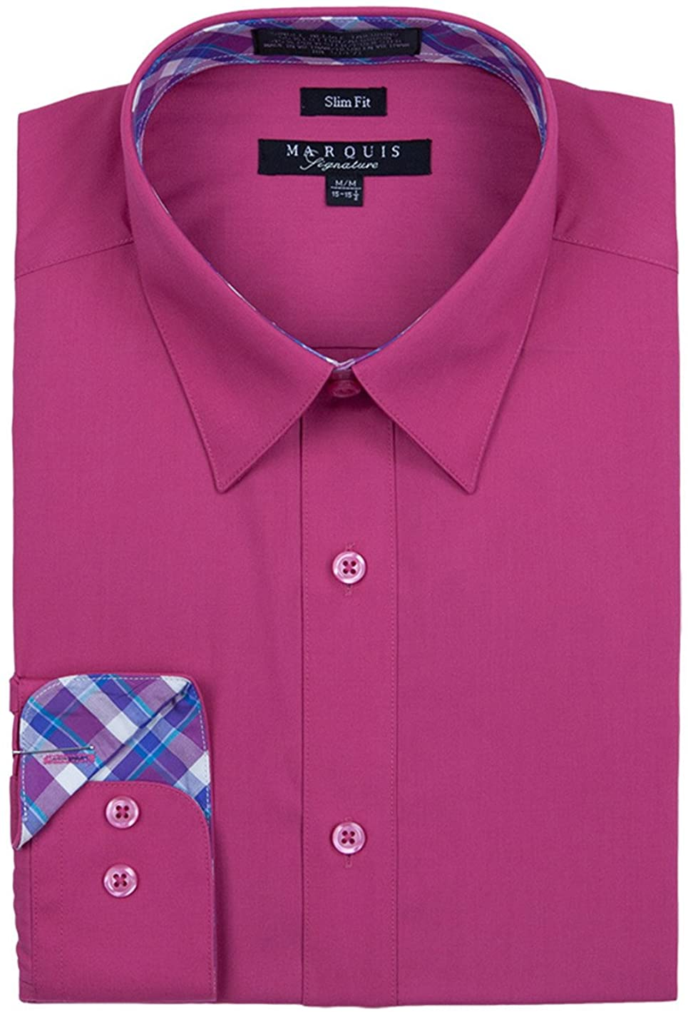 Marquis Men's Slim Fit Long Sleeve Collared Button Down Dress Shirt with Contrast Trim, Available in Variety of Colors