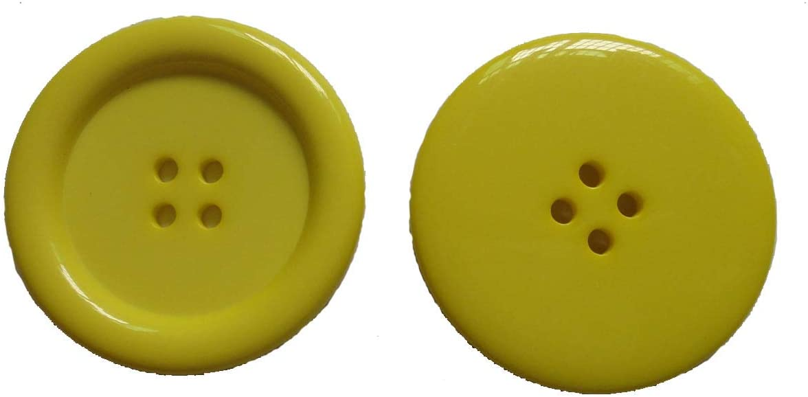 Lyracces Wholesale Lots 7pcs Extra Large Big Sewing Fasteners Flatback Resin Buttons 50mm 1.97 Inches (Yellow)