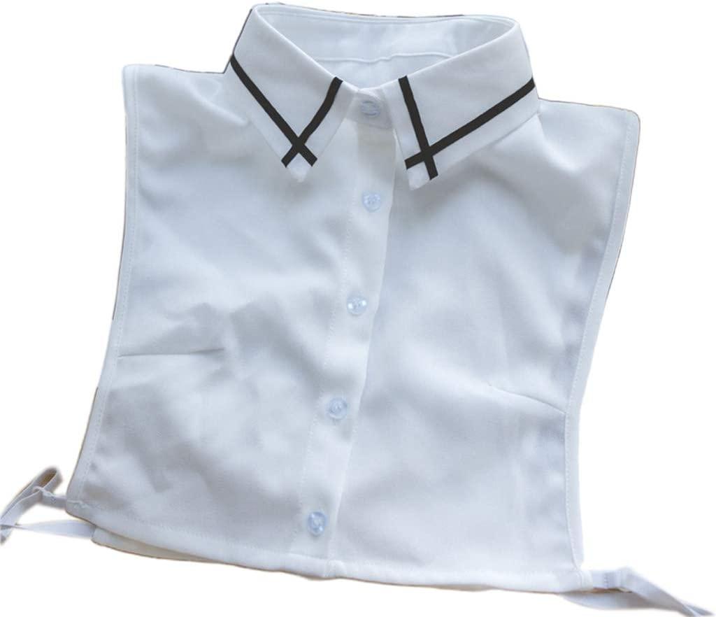 minansostey Office Lady Black Cross Stripes Lapel Detachable Half-Shirt Blouse Womens Decorative Adjustable Button Down Fake Collar
