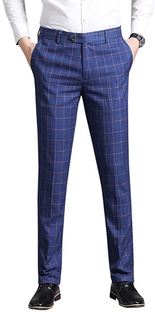 YFFUSHI Mens Casual Pants Classic Expandable Waist Suit Separates Plaid Dress Trouser