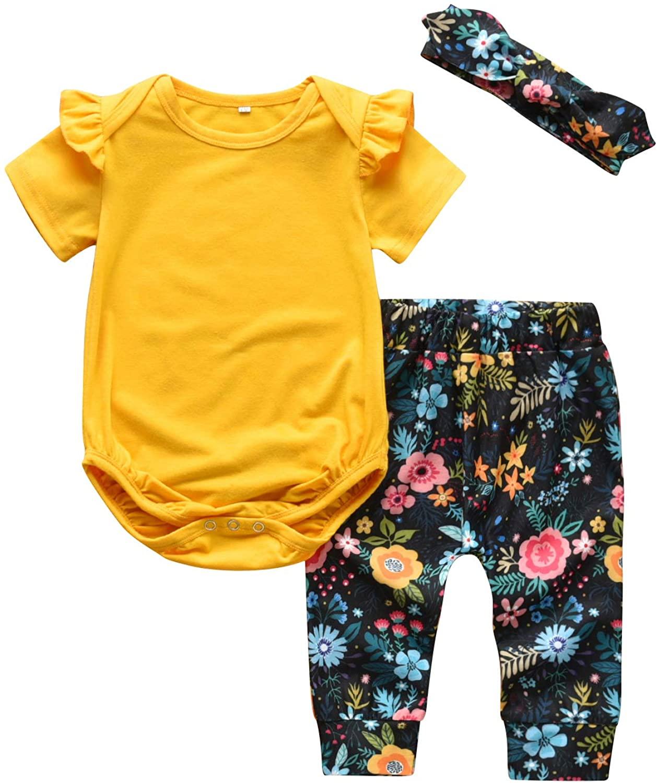 Summer Toddler Baby Girl Clothes Ruffle Shirts Tops Floral Pants Headband Outfits Set
