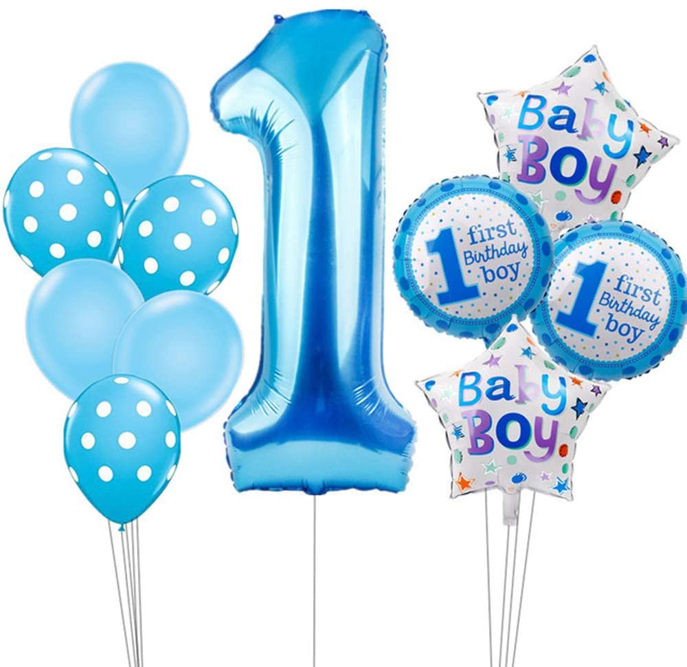 Hongkai 40Inch Number 1 1st Birthday Boy Decoration Set,Baby Boy First Birthday Decoration with Happy Birthday Banner, Birthday Blue Latex Foil Balloons for Party Supplies Decoration