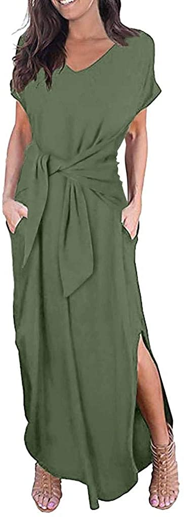 terbklf Maxi Dresses for Women Summer Casual Elegant Solid Party Dress with Belted Waist Women Evening Party Long Dress