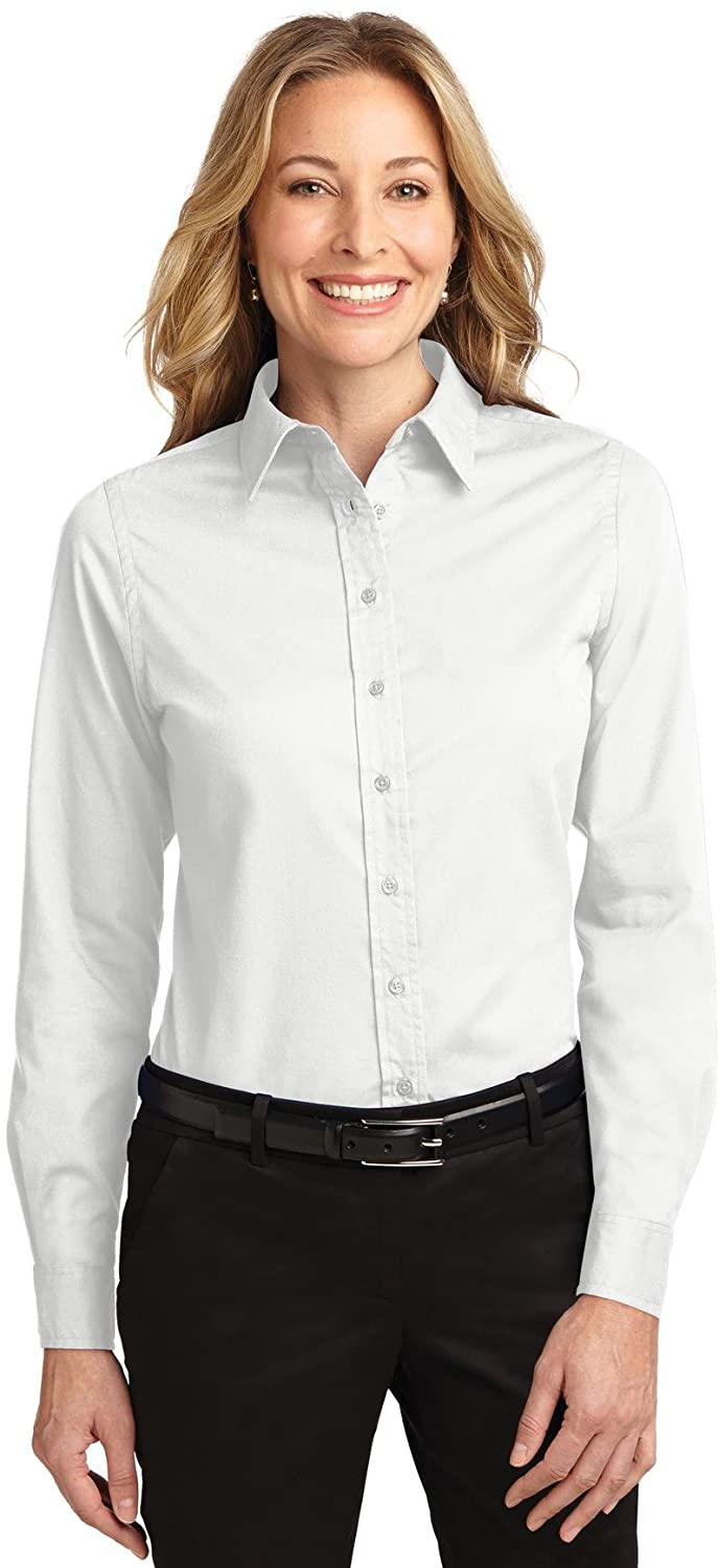 Port Authority - Ladies Long Sleeve Easy Care Shirt. L608 - White/ Light Stone_XXL