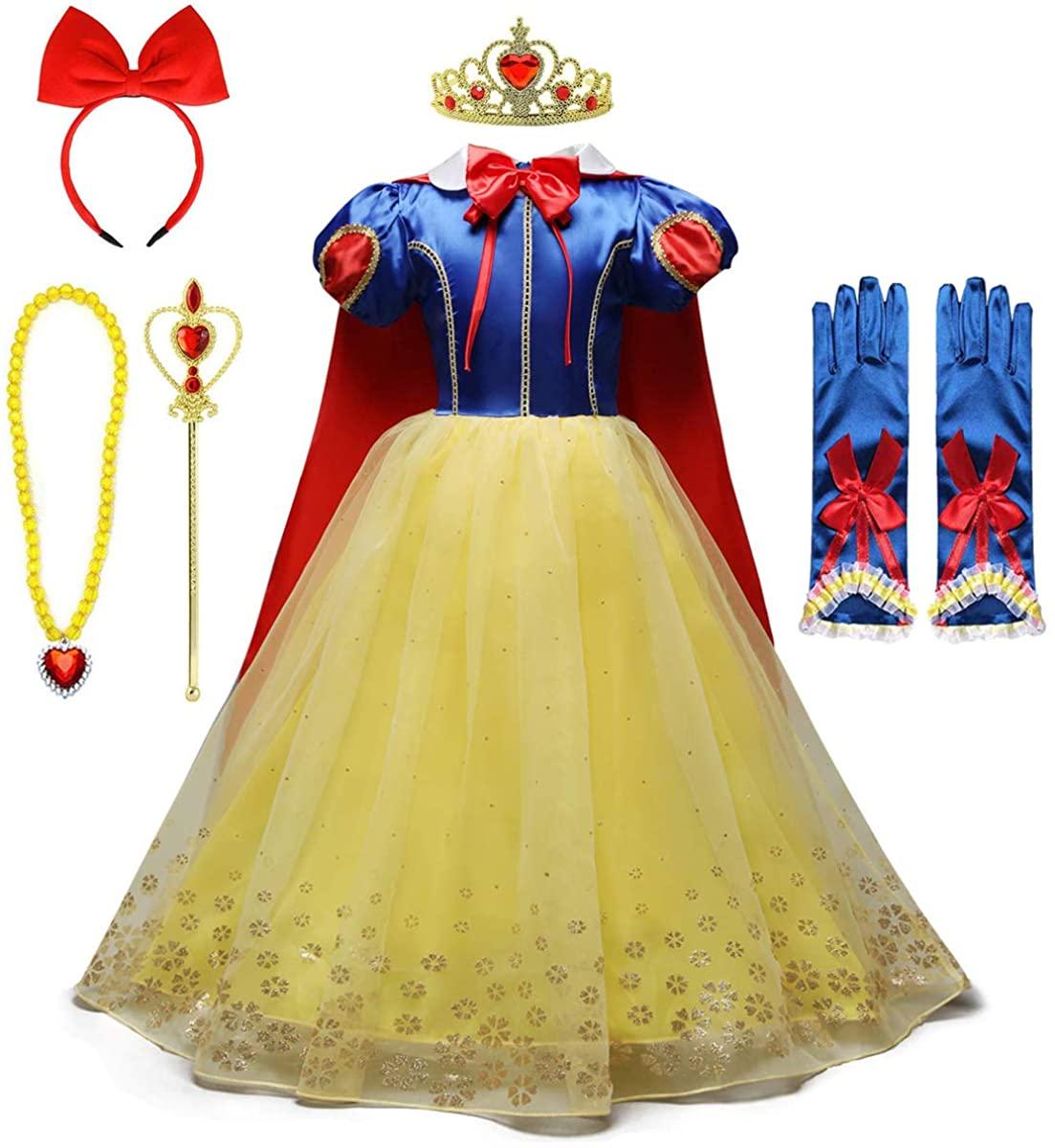 MYRISAM Snow White Princess Dress Up Costume Girls Halloween Carnival Cosplay Christmas Birthday Dress w/Cloak Headband