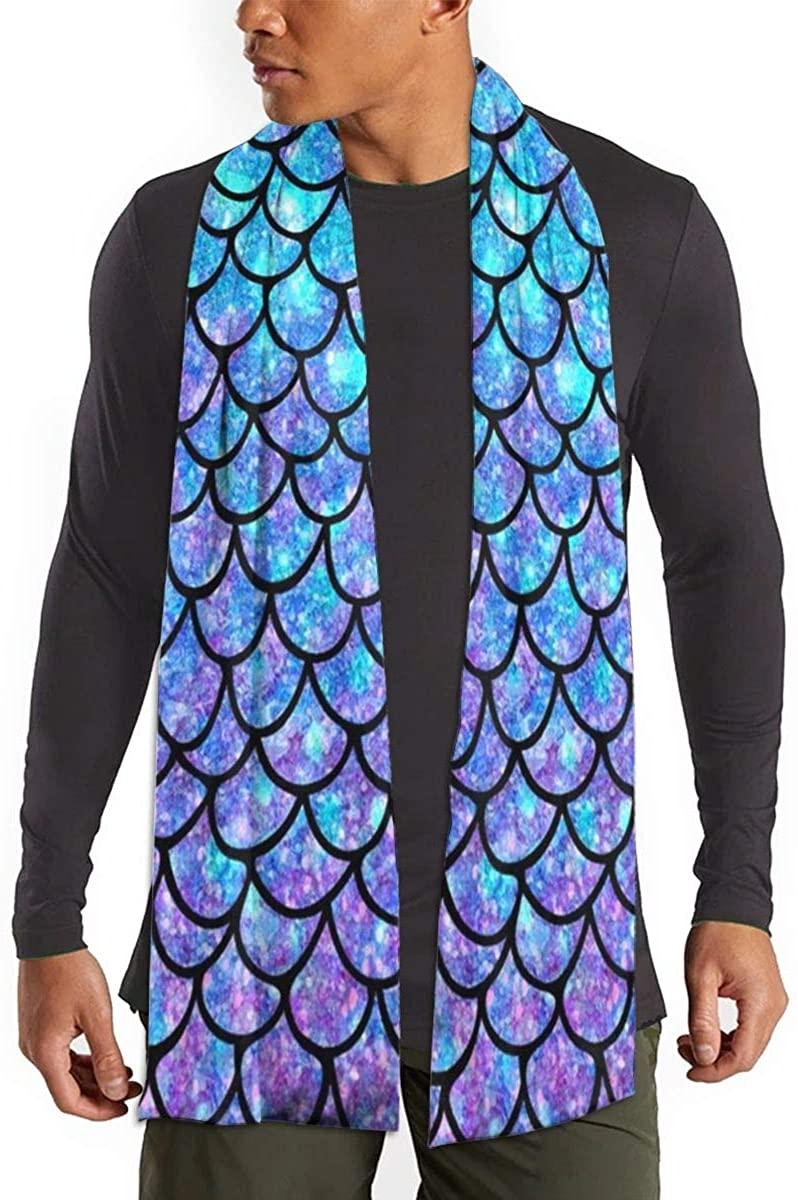 Purples & Blues Mermaid Scales Unisex Warm Shawls Imitation Scarf Winter Neckerchief