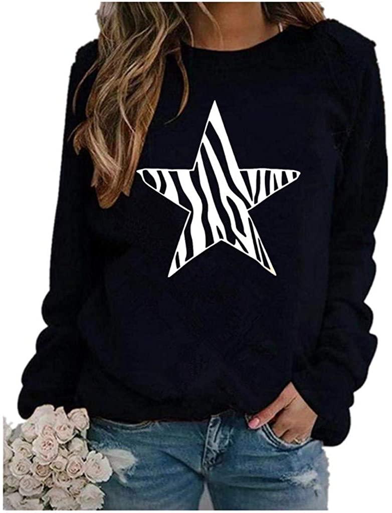 Soluo Fashion Maternity sweatshirtsWomen's Star Print O Neck Long Sleeve Sweater