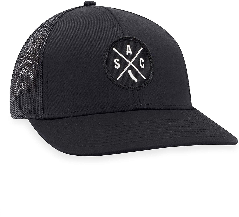 SAC Hat – Sacramento Trucker Hat Baseball Cap Snapback Golf Hat (Black)
