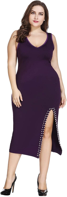 Plus Size Sleeveless V-Neck Sheath Split Midi Dress for Cocktail Casual Party