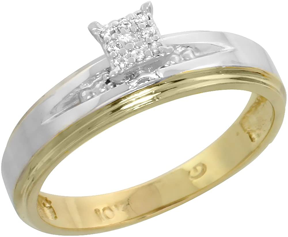 10k Yellow Gold Diamond Engagement Ring Women Cluster Set 0.06 cttw 3/16 inch 5mm wide Size 6