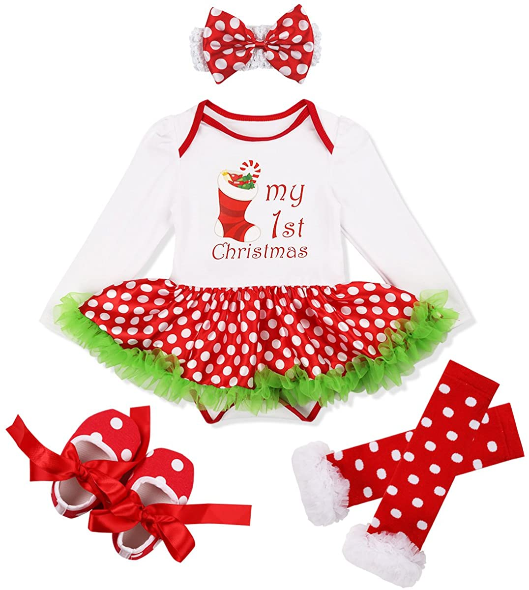 ACSUSS Baby Girls Christmas Outfits Santa Tree/Stocking Long Sleeves Romper with Headband Leg Warmer Shoes Set