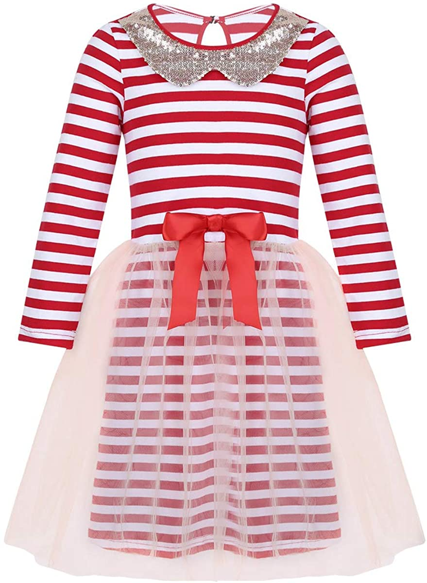 Freebily Infant Baby Girls Christmas Costumes Long Sleeves Sequined Collar Striped Holiday Party Mesh Tutu Dress