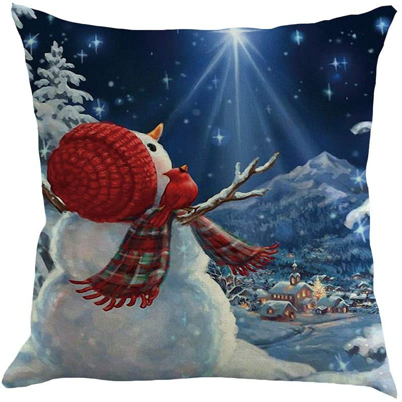 Allywit Merry Christmas Decorative Red and White Santa Claus Throw Pillow Case Cushion Cover 18 x 18 inch 45 x 45 cm