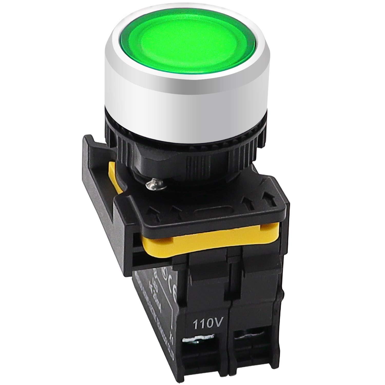 mxuteuk Green LED Light Voltage 110V 22mm 1NO Waterproof IP65 SPST Momentary Push Button Switch 10A 600V LA155-A1-10D-G