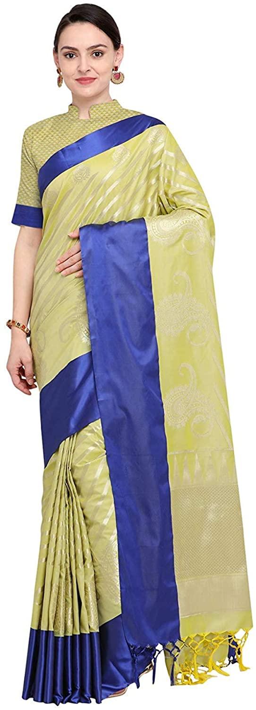 VARKALA Silk Sarees Women's Kanjiwaram Banarasi Katan Silk Saree (Free Size) Lime Green