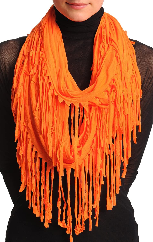 Orange With Tassels Snood Scarf - Green Designer Snood