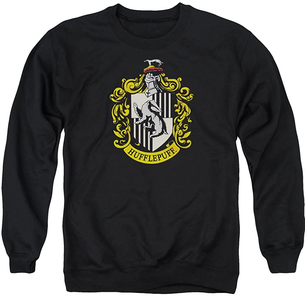 Harry Potter Hufflepuff Crest Adult Crewneck Sweatshirt Black