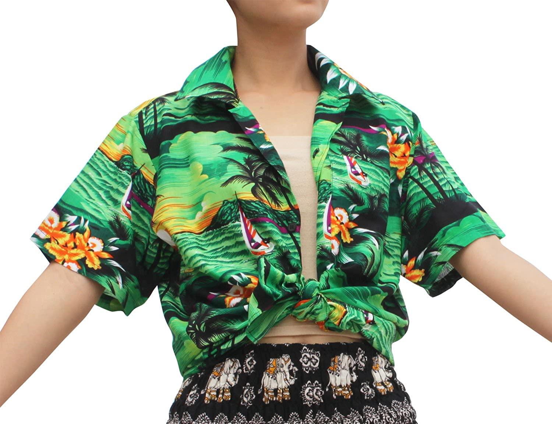 Full Funk Hawaiian Summer Light Rayon Shirt in Coconut Mountain and Sea Print