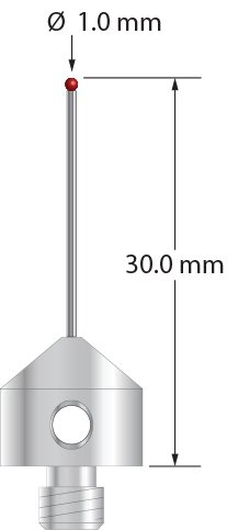 M5 Probe Stylus with 1.0 mm Ruby Ball and Straight Carbide Shaft, 30 mm Long
