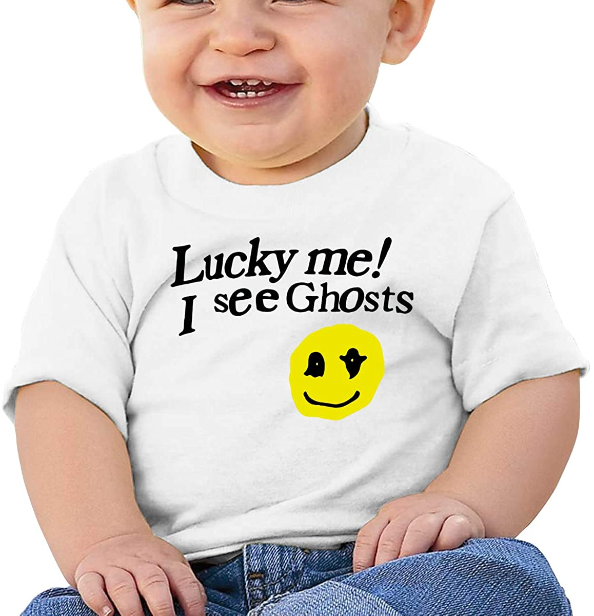 1743 Funny Lucky Me I See Ghosts Comfortable Baby T-Shirt