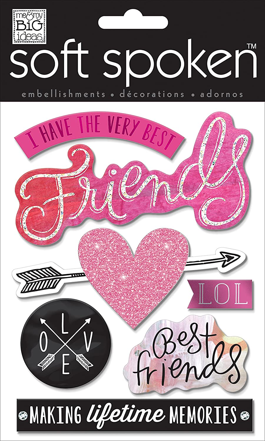 me & my BIG ideas Soft Spoken Themed Embellishments, I Have The Very Best Friends