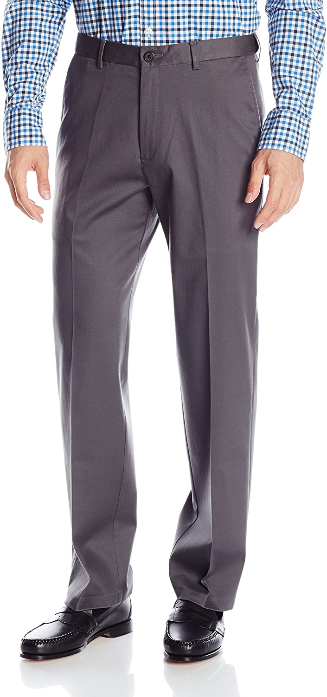 Haggar Men's Classic Fit Flat-Front Hidden Expandable Waistband Premium No Iron Khaki, 44W x 29L - Dark Grey