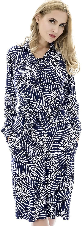 Bearsland Women's Maternity Nursing Dresses Long Sleeve Comfy Breastfeeding Dress with Pockets