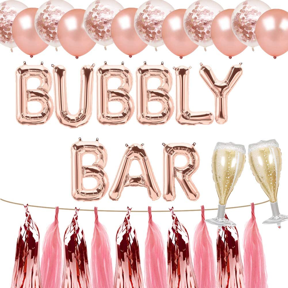 Bubbly Bar Balloons, Mimosa Bar Party Banner, Bridal Shower Engagement Bachelorette Champagne Brunch Wedding Graduation Fiesta Party Supplies Decorations