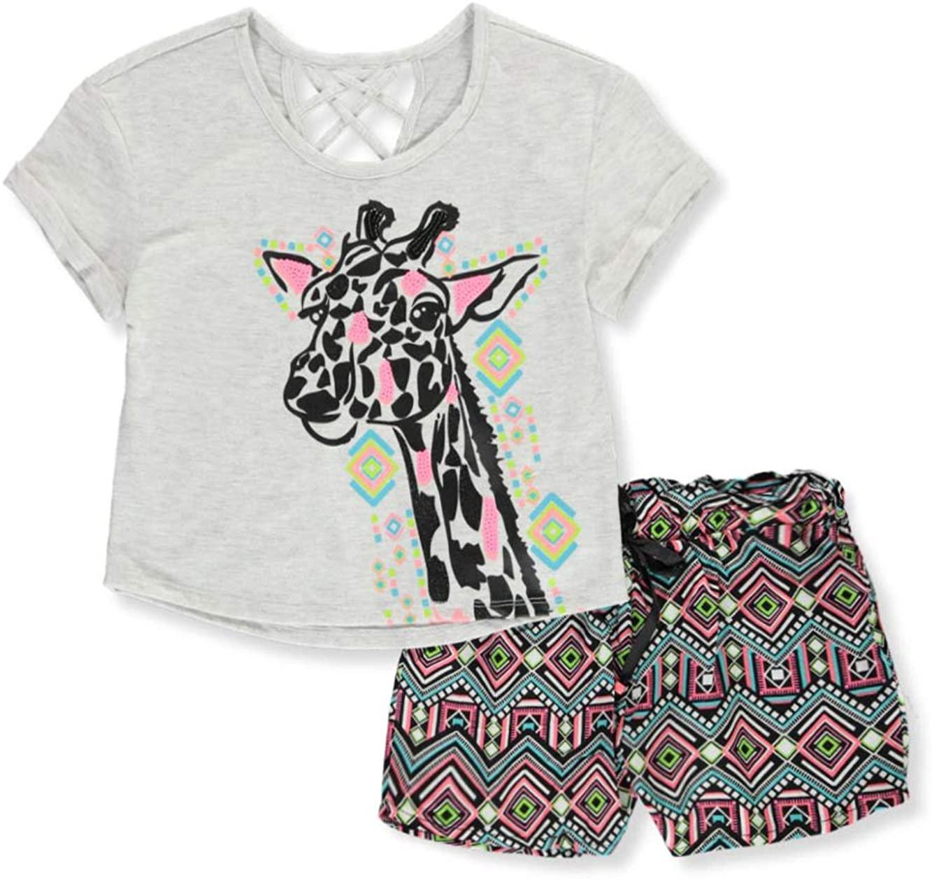 RMLA Girls' Sparkle Giraffe 2-Piece Shorts Set Outfit