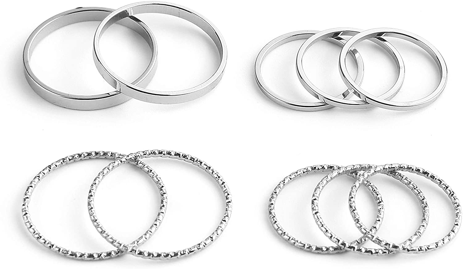 SOTOLAN 10 PCS Simple Bohemian Crystal Joint Knuckle Ring Sets Finger Rings Midi Ring Set Stackable (Silver)