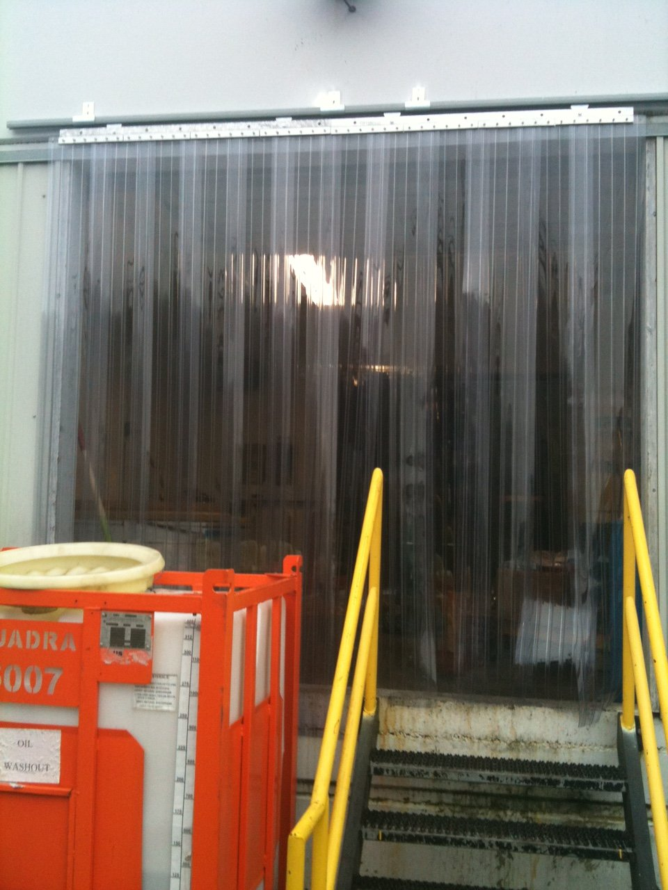 Strip-Curtains.com: Strip Door Curtain - 108 in. (9 ft) width X 120 in. (10 ft) height - RIBBED - ANTI Scratch 8 in. strips with 50% overlap - common door kit (Hardware included)