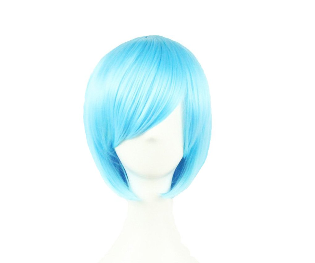 32cm Anime Fashion Short Bob Style Cosplay Wigs Party Costume Straight Hair, Light Blue