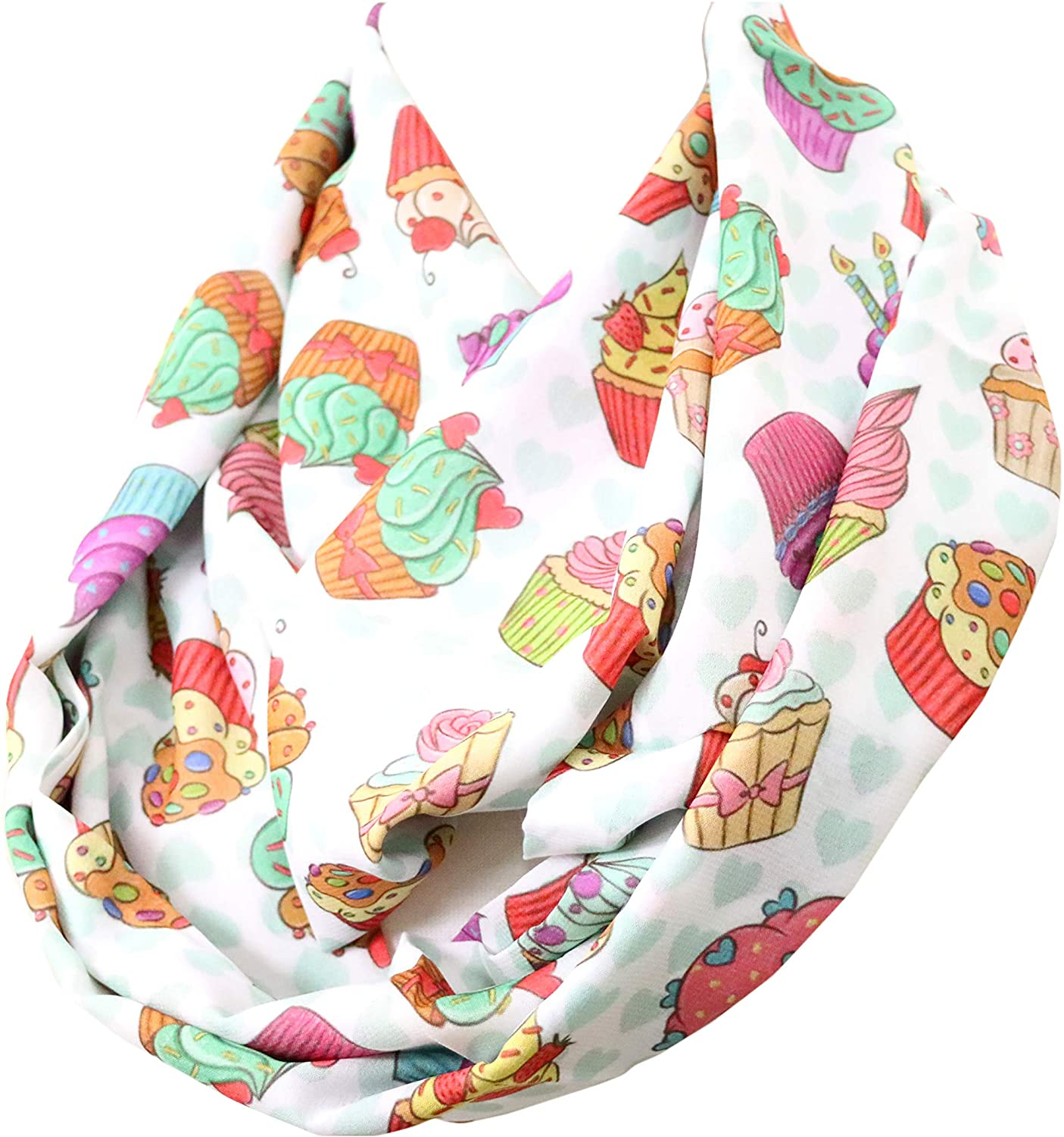 DiCapanni's cupcake infinity scarf muffin white colorful scarf birthday gift for her for baker chef outfit clothing cake decorator accessories women cupcake paper muffin cake decorator cookware wrap