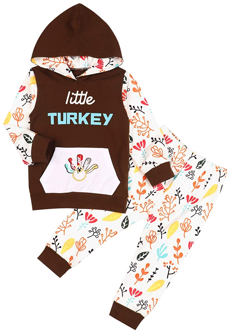 Thanksgiving Baby Outfit Thanksgiving Baby Clothes Newborn Baby boy Girl Clothes Turkey Baby Long Sleeve Turkey Hoodie Set