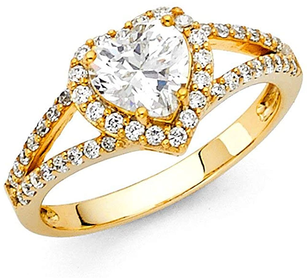 14k Yellow Gold CZ Cubic Zirconia Simulated Diamond Engagement Ring Size 7 Jewelry Gifts for Women